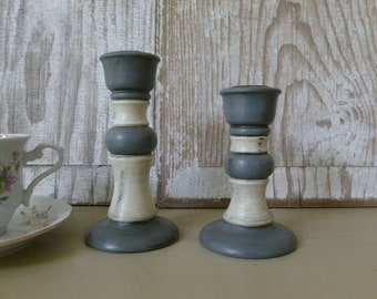 Distressed Painted Candlesticks in Grey and White
