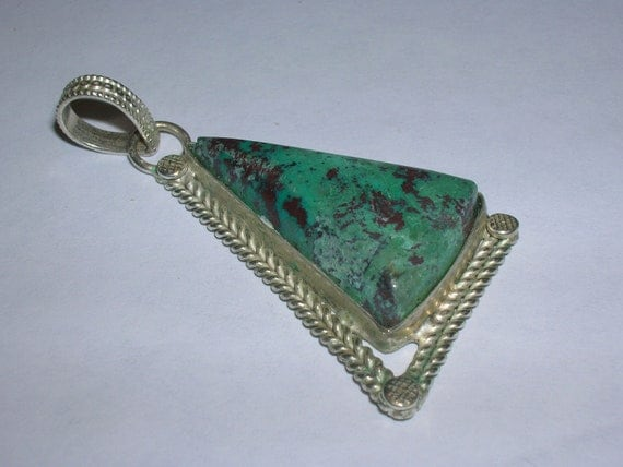 TRIANGULAR CHRYSOCOLLA Set In Sterling Silver Pendant