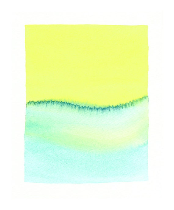 turquoise wave original watercolor painting