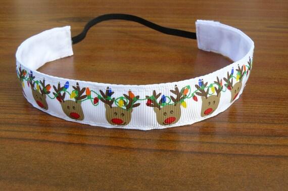 Reindeer Christmas Ribbon Headband - Non-Slip (7/8 inch)