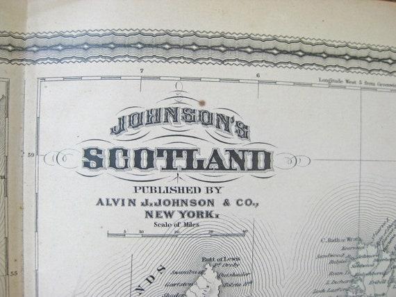 1882 Antique Map of Scotland