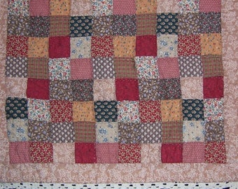 Patchwork Table Topper with crochet edge Vintage 80's 25 x 30