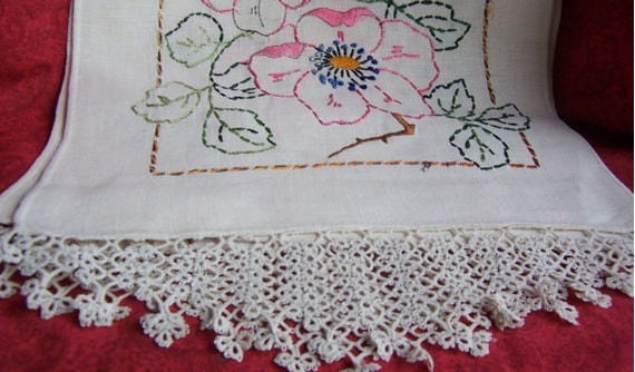 Vintage Embroidery Dresser Scarf with tatting trim