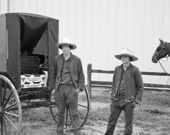 Amish Boys w/ Horse & Buggy Selling Strawberries in Missouri