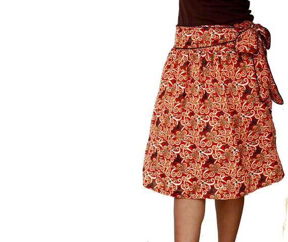 Spring Fashion Midi Skirt / Red and orange Tribal Skirt Traditional Borneo with Sash Belt - Knee Length