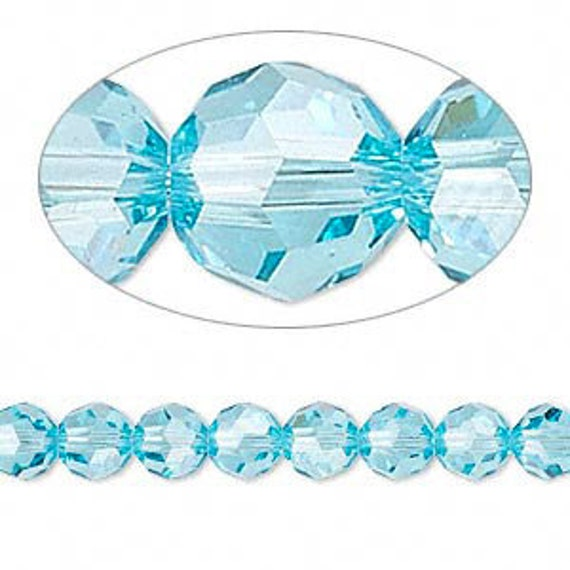 53 Light Turquoise Sky Blue Crystal Round Czech Glass Beads - 6mm 12 Inch Strand