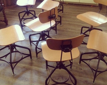 Todledo Industrial Drafting Chairs - Set of Six