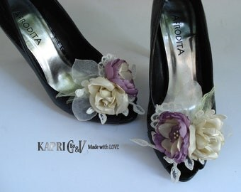 Shoe Clips Flowers Bouquet,Weddings,Accessories,purple and Ivory/Champagne,Bridal Clips,Photo prop