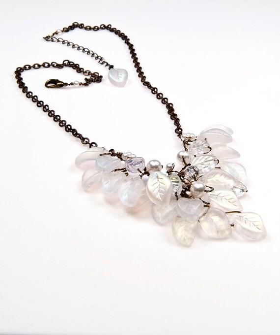 white beaded necklace bib necklace bridal jewelry