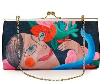 Fly, Clutch Large, party-ready, red, pink,  flowers, green bird, girl