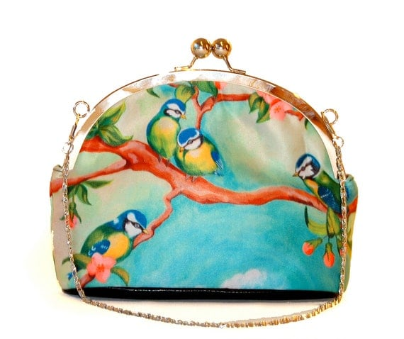 Retro clip purse,clutch bag,Birdgirl,birthday gift,gifts for her,gifts for mom,Woody Ellen handbag,christmas gifts,christmas gift ideas