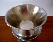 Danish modern stainless steel sauce bowl with attached underplate Denmark