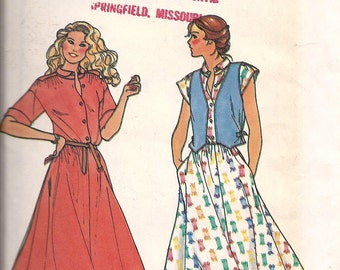 1970's Dress & Vest Pattern, Quick Butterick 6450, Size 6-8, UNCUT