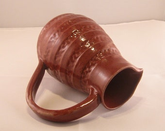 Cranberry Pitcher, ceramic pitcher, red pitcher, maroon pitcher, burgundy pitcher, pottery pitcher
