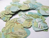250 Vintage World Atlas Map Confetti Hearts,Map Decoration,Atlas Decoration,Map Confetti,Wedding Decoration,Bridal Shower