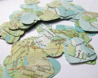 250 Vintage World Atlas Map Confetti Hearts,Map Decoration,Atlas Decoration,Map Confetti,Wedding Decoration,Bridal Shower