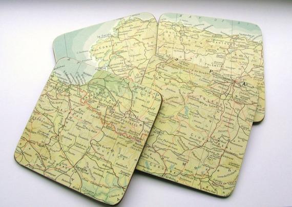 Vintage World Atlas Map Coasters - Set of 4 - Full Cork Bottoms