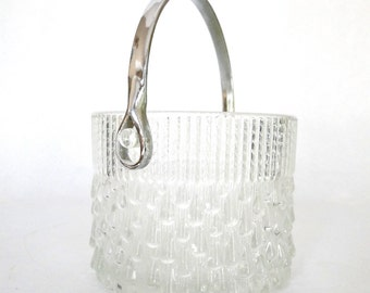 Glass Ice Bucket French Wine Cooler Textured Glass Mid Century Vintage Barware Teleflora France Retro Vesiesteam