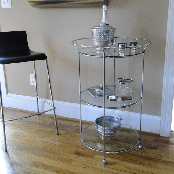 Vintage Bar Cart Chrome 3 Tiered Round Swivel Silver Serving