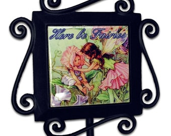 Here be Fairies Garden Stake Ceramic Tile 3 ft tall