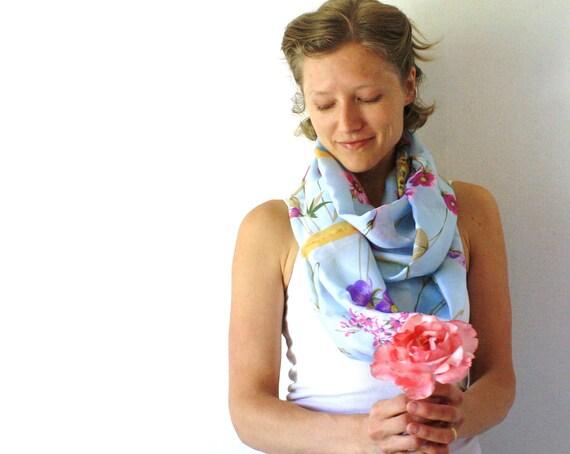 Up-cycled Silk  Circle Scarf - Flowers Scarf - Pale Blue Scarf - Vintage Silk Scarf - Loop Scarf -Spring Fashion