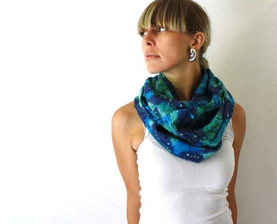 Up-cycled Tie Dye Circle Scarf - Blue and Green - Summer Fashion - Infinity Scarf - Loop Scarf - Long Scarf