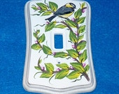 Hand Painted Chickadee Light Switch Plate Wood Wall Cover Single Decorative CB