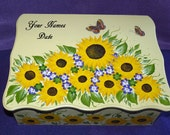Romantic Wedding Keepsake Box Personalized Sunflower Wedding Reception Box Large Envelope Gift Card Box Memory Box Butterfly Sunflowers