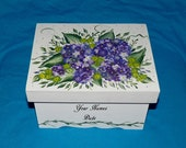 Hand Painted Wedding Keepsake Box Wood Personalized Guest Book Box Purple Gift Card Box Hydrangeas Bridal Shower Gift