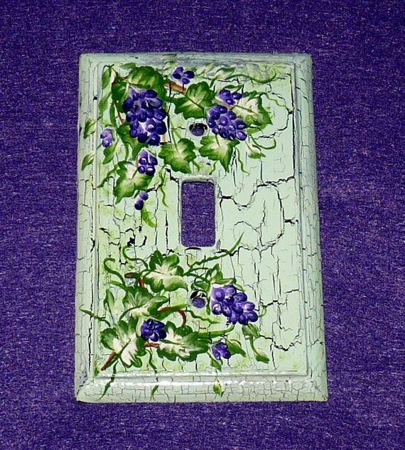 Decorative Distressed Painted Wood Light Switch Plate Cover