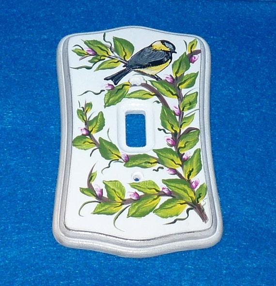 Hand Painted Chickadee Light Switch Plate Wood Wall Cover