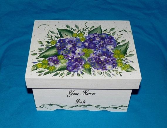 Hand Painted Wedding Keepsake Box Wood Personalized Guest Book Box Purple Gift Card Box Hydrangeas Bridal Shower Gift