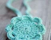2 in 1 - Crocheted Flower Headband or Flower Pin in Iced Blue