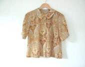 Vintage Peter Pan Blouse in Golden Yellow Paisley