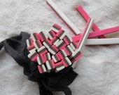 M-44 Cute white black and pink rectangle Polymer Clay Cane Nail Art Decoration 5pcs