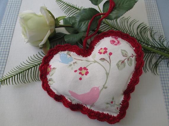 handmade heart decoration with crochet trim