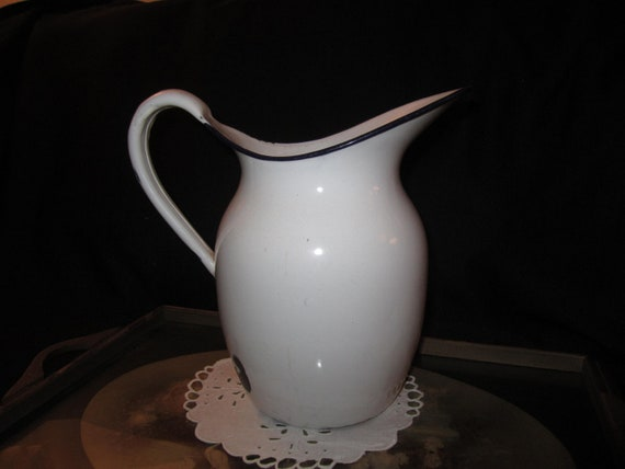 Delightful Vintage Large Enamel French Country Farm House Pitcher