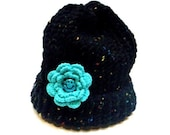 Girls Teen Warm Knit Hat Knitted Hat Cap Beanie Black with Turquoise Crochet Flower