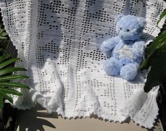 Teddy Bear White crochet baby filet afghan blanket MADE TO ORDER