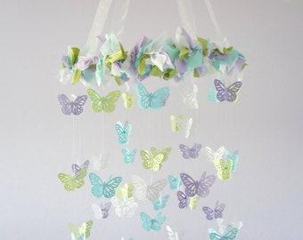 Butterfly Nursery Mobile- Lavender, Green, Blue & White- Baby Shower Gift, Photographer Prop, Nursery Decor