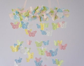 Pink Blue Nursery Butterfly Mobile- Butterfly Nursery Room Mobile Decor in Pink Green Blue Yellow White