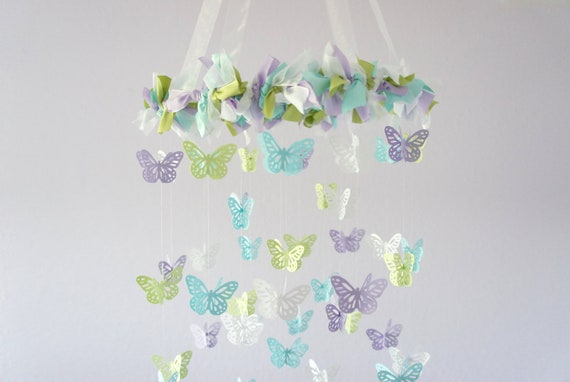 butterfly nursery mobile lavender green blue white baby. Black Bedroom Furniture Sets. Home Design Ideas