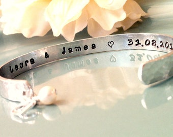 Hand Stamped Wedding Bracelet - Personalized Jewelry - Custom Bridal Cuff with Secret Message, Pearl and Silver Heart - Bridal Shower Gift