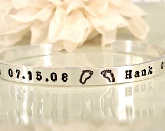 Personalized Mommy Bracelet - Hand Stamped Jewelry - Sterling Silver Mommy Cuff with Baby's Name, Birth Date & Tiny Prints - New Mom Gift