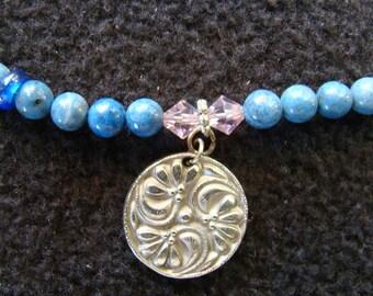 Floral Swirl Denim Blue Jasper and Pink Crystal - Stone Choker - 15.5 inch