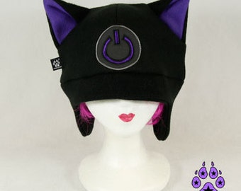 Pawstar Game ON Power kitty cat hat  gamer geek fleece cosplay anime goth cyber xbox  furry ski ear flap warm Red White Hot Pink Blue 1230