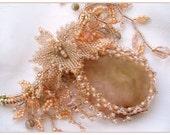 Desire Beadwoven Peach Calcedony Necklace