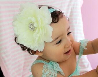 Big Flower Headband / Ivory Baby Headband / Toddler girl..Newborn Headband - Infant Headband - Big Ivory Headband