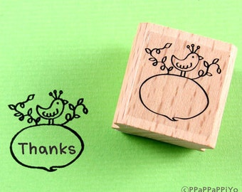 50% OFF SALE Bird with message Rubber stamp