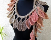 CROCHET SCARF PATTERN Autumn Leaves Fall, Crochet Lariat, Diy Crafts, Chunky Scarf, Instant Download Lyubava Crochet Pattern Pdf No.50